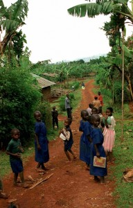 Children Returning From School in Coffee Village in Uganda