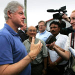 Interviewing Bill Clinton on coffee impact in Tsunami aftermath in Aceh