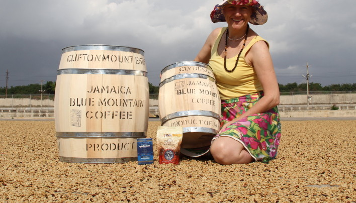 SpillingTheBeans in Jamaica and With Mini-Barrel of Blue Mountain Coffee